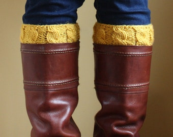 Reversible Boot Cuffs, Cabled and Ribbed - Mustard Yellow