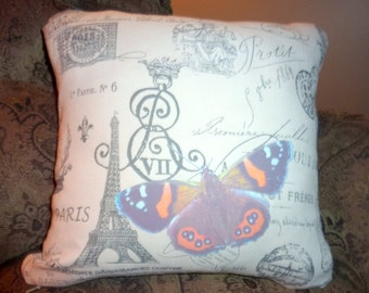 Paris Pillow Cover - Premier Prints French Stamp Cover - Butterfly - Eiffel Tower - decorative pillow cover - French country - Accent pillow