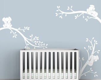 White Tree Wall Decal Baby Room Decor White Decals Wall Decor - Koala Tree Branches by LittleLion Studio