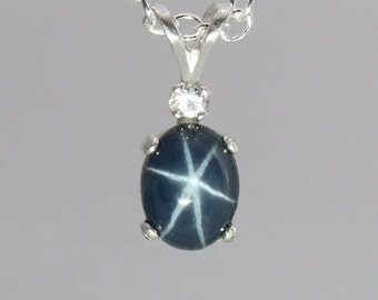 Genuine 2-Carat Blue Star Sapphire Necklace / Sterling Silver Blue Star Sapphire Pendant