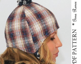 Earflap Hat Pattern. Winter Hat pattern with Pom Pom. PDF pattern - Adult Ear Flap hat pattern.