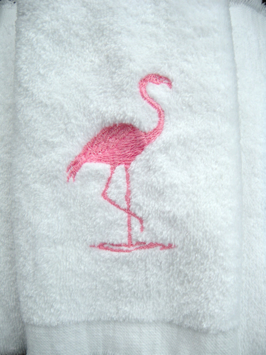 Flamingo Towel Bathroom Or Powder Room Embroidered Pink