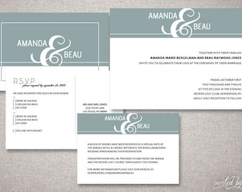 "Modern ""Beau"" Custom Wedding Invitations Suite - Typography Clean Invitation - DIY Digital Printable or Printed Invite"