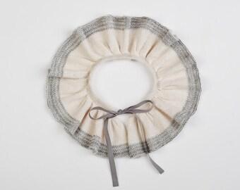 Ruffle collar, Pierrot detachable knit collar