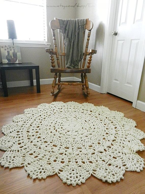 giant crochet doily rug floor light beige ecru nude by evavillain. Black Bedroom Furniture Sets. Home Design Ideas