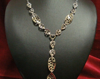 Necklace with hearts handmade, 925 silver woman