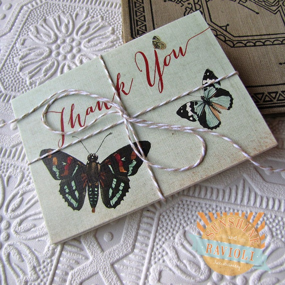 Vintage Botanical Butterfly Thank You Notes set of five