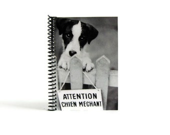 Dog Sign Writing Journal Diary Spiral Bound, Back to School, Dog Lover Gifts Under 15, Blank Sketchbook, Spiral Notebook, 4x6 Inches, Pocket