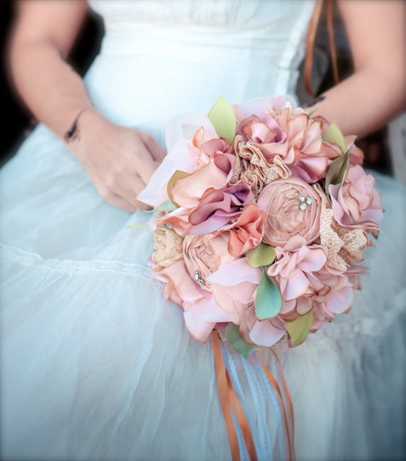 RESERVED Tea-Stained Fabric Bouquet Bridal By