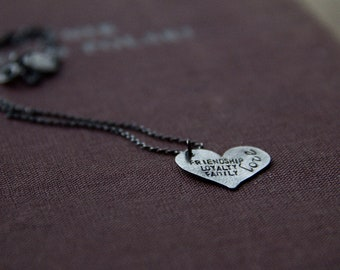 SALE: friendship, loyalty, family, love (sterling silver flat heart - personalize - made to order) - necklace