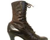 ON HOLD 910s Edwardian Leather Walking Boots with Louis Heels 5 N