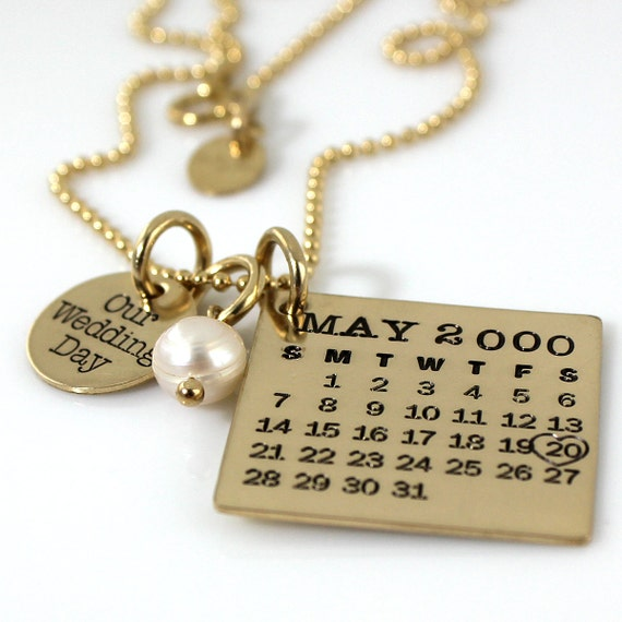 Our Wedding Day Mark Your Calendar Necklace personalized gold filled necklace with pearl