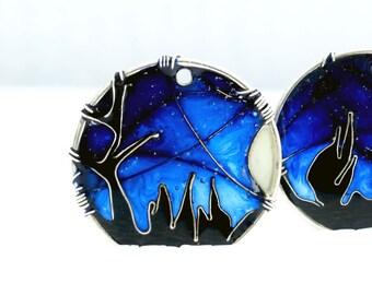 Ultramarine Blue Earrings. Silver Earrings. Blue Jewelry. Night Sky Full of Stars Earrings. Dangle Earrings. Galaxy Jewelry. Unique Jewelry.
