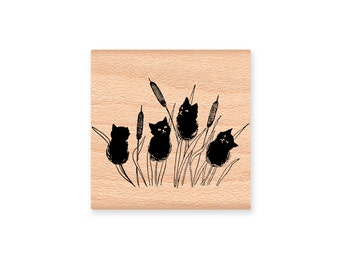 CATTAILS RUBBER STAMP~Black Cats~Halloween Decor Crafting~Fall Autumn~Wood Mounted Rubber Stamp~Mountainside Crafts