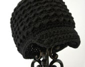 Little Boys Hats, Crochet Newsboy Hat, Infant Boy, Black Beanie, Soft-Brimmed Visor, MADE TO ORDER, Children Clothing