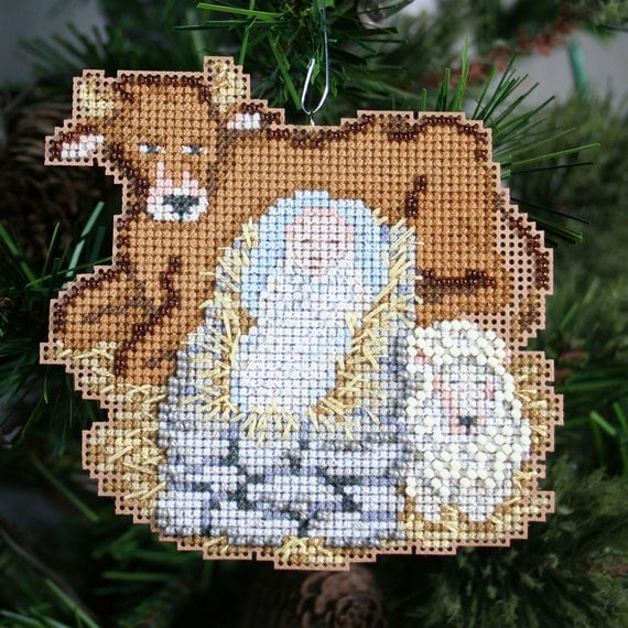 Baby Jesus Cross Stitched and Beaded Christmas Ornament - Free Shipping