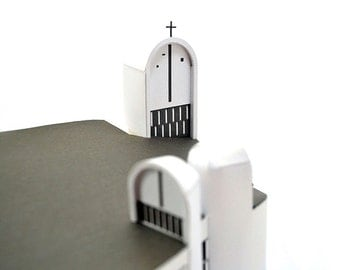 Ronchamp Chapel || architectural replica of Le Corbusier's masterpiece || kit with white & silver paper parts || 6 inches = 14 cm tall