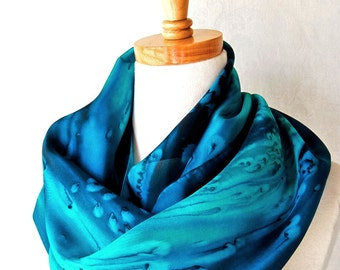 Silk Scarf Handpainted in Deep Ocean Blues