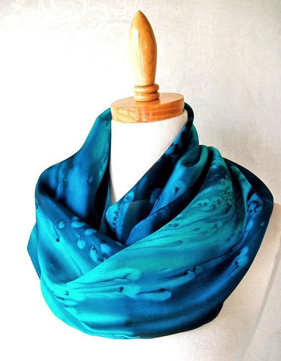Silk Scarf Hand Painted in Deep Ocean Blues