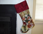 Cranberry Red, Green and  Gold Quilted Christmas Stocking with cranberry cuff