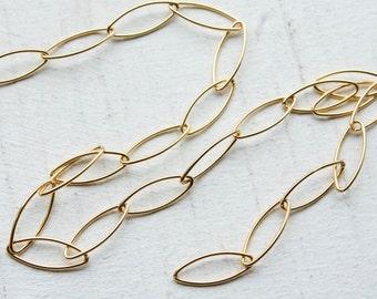 2 feet, Italian 18k Gold Vermeil on Sterling Chain, Long Thin Oval Links, M/RWS060