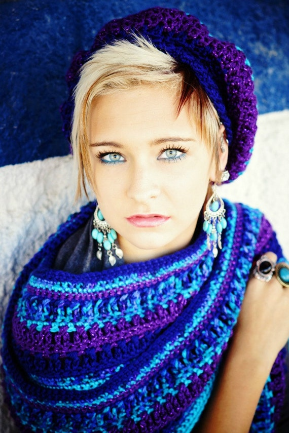 Blue and Purple Scarf Womens Scarf Teen Scarf Sparkle Scarf Winter Scarf Teen Girl Gift Idea Winter Fashion Hand Crocheted Items Long Scarf