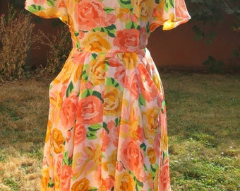Vintage 60s 40s style Peach Yellow Pink Cabbage Rose Print Flutter Raglan Kimono Sleeve High Waist Dress