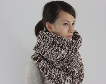 SALE Hand Knit Cowl, Mens Cowl Scarf, Womens Cowl Scarf, Chunky Knit Cowl, Brown Mix