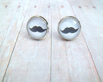 S T A C H E - Black and White Mustache Photo, Glass Cab, Silver Stud Earrings, 12mm