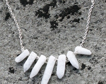 White Necklace, Bib Necklace, Statement Necklace, Crystal Necklace, Cracked Crystal Stick Beads, White Necklace, Handmade Necklace
