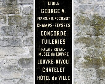 SMALL Paris Metro Subway Sign, French Sign, Paris Poster, Paris Décor, Bus Scroll on Canvas or Wood. 12 x 36