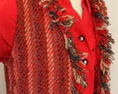 1960/70's Shag bohemian knit fringe woven homemade tweed style patterned long layering dress jacket vest sz XS/S