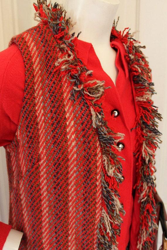1960/70's Shag bohemian knit fringe woven homemade tweed style patterned long layering dress jacket vest sz XS/S