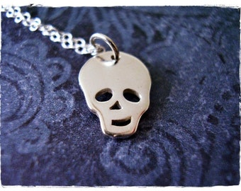 Silver Skull Face Necklace - Sterling Silver Skull Face Charm on a Delicate Sterling Silver Cable Chain or Charm Only