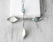 Blue Topaz Earrings, Long Sterling Silver Blue Topaz Leaf Earrings, November Birthstone Gift Idea For Her, Something Blue, Topaz Jewelry