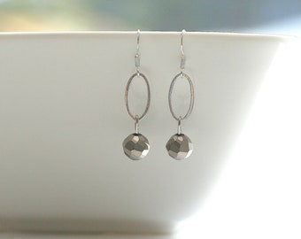 Silver, oval link, grey, earrings - BARBARA