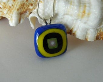 Pendant Fused Glass Retro Square Fused Glass Blue and Yellow pendant necklace