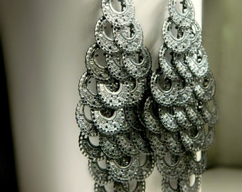 Gunmetal Chandelier Earrings - Vintage / long