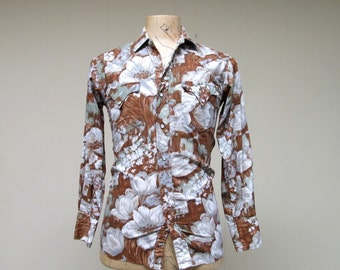 Vintage 1950s Western Shirt / 50s Cotton Floral Rockabilly Shirt / 36 Chest