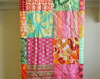 Baby Quilt Girl -  Sunny Summer - Pink, Turquoise, Orange, Yellow, Green, Aqua, Coral, Mint - Minky Backing, Colorful, Bright Nursery