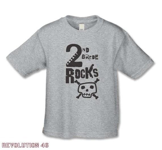 Back to School - Second  Grade Rocks T-shirt - Rock n Roll Skull Shirt - Rock n Roll Theme Party - Boys and Girls Back to School Shirts
