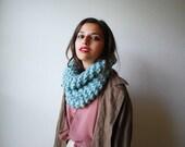 The Manhattan Cowl Hand Knit in Seafoam Wool Blend