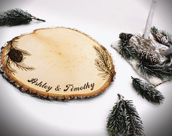 Winter Pine Design Set: Wood slice rustic theme wedding guest books. Personalized