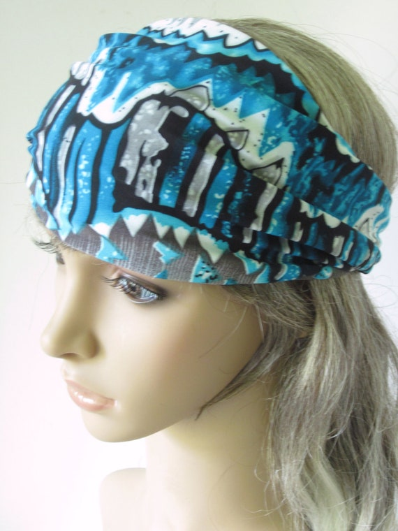 Jersey Knit Hair Wrap Headband Gaiter Turquoise Blue Gray Absrtact Stripes Winter Fashion for Guys and Gals