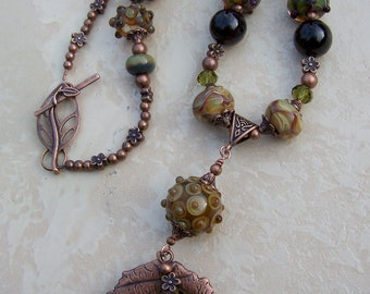 SALE - Handmade lampwork beads, garnet gemstone beads and copper necklace