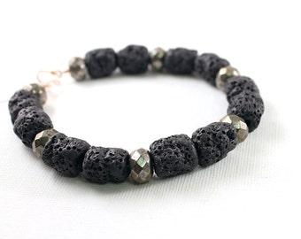Mens bracelet: black lava rock jewelry for men rough stones, lava bracelet pyrite stone bracelet for men, masculine, rustic, male, tribal