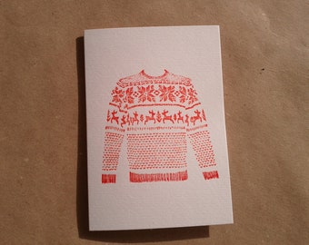 Letterpress Christmas Card //  Fairisle Jumper (A7 size, blank inside)