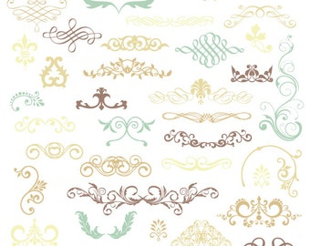 Digital Colored Flourishes - Commercial Use - Blue Tan Beige - 40 Pieces - Png Files - FLOURISHES019
