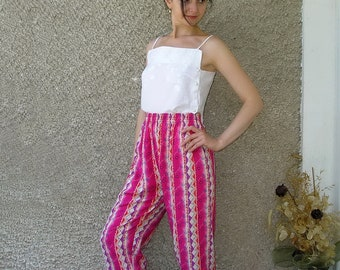Vintage high elastic waist summer trousers, size S-M
