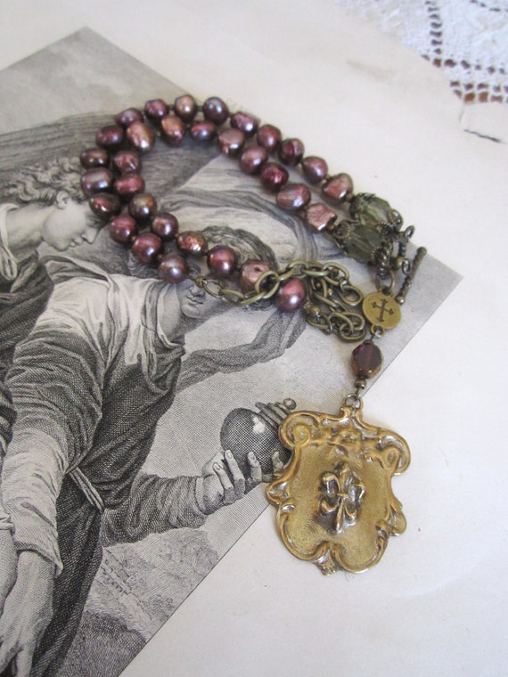 Installment #1 of 4-reserved for Beth repurposed assemblage handmade jewelry necklace fleur de lis shield purple amethyst pearl rosary